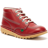 Shoes Children Mid boots Kickers Kick Hi Zip Toddlers Red / White Leather Boots Red