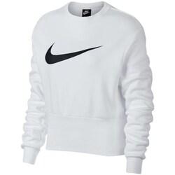 Clothing Women Sweaters Nike Swoosh White