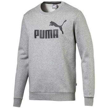 Clothing Men Sweaters Puma Ess Logo Crew Sweat FL Big Logo ME Grey