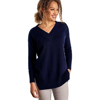 Clothing Women Tunics Woolovers Cashmere Merino Deep V Neck Tunic Blue