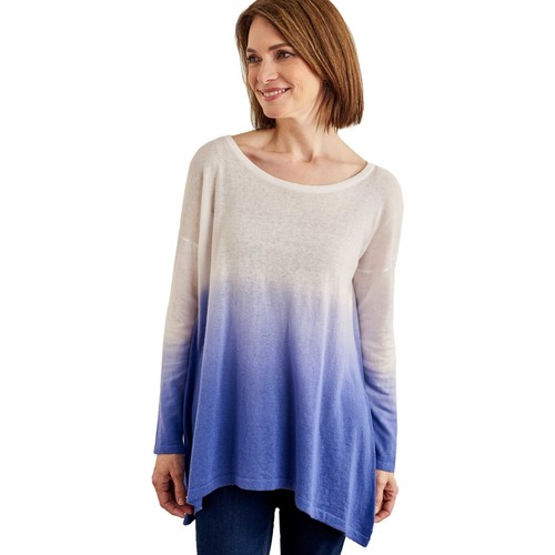 Clothing Women jumpers Woolovers Cotton Blend Dip Dye Jumper Blue