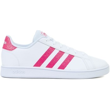 Shoes Girl Low top trainers adidas Originals Grand Court K White, Pink