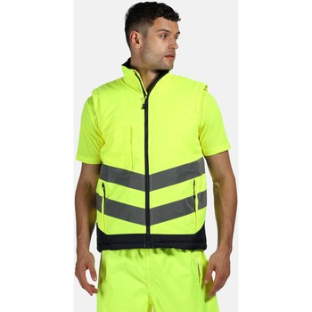 Clothing Men Jackets / Cardigans Professional Hi Vis Pro Reflective Bodywarmer Yellow Yellow