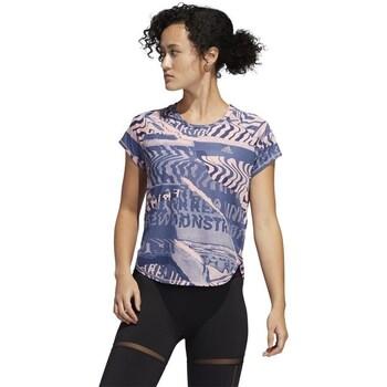 Clothing Women Short-sleeved t-shirts adidas Originals Own The Run Tee Blue, Pink