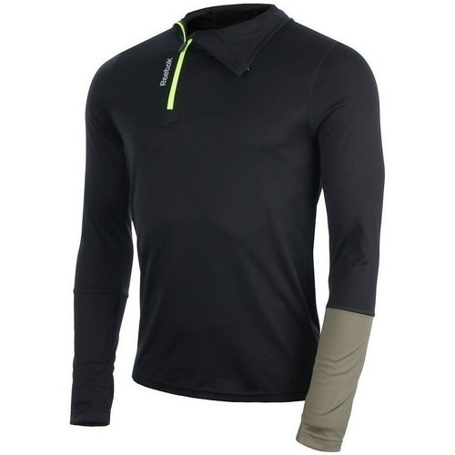 Clothing Men Long sleeved tee-shirts Reebok Sport Running Essentials Cold Weather Hoodie Black