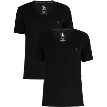 Clothing Men Short-sleeved t-shirts Calvin Klein Jeans 2 Pack V-Neck T-Shirt black