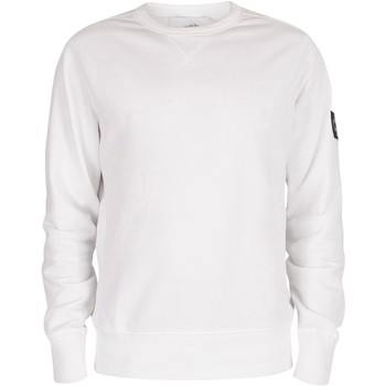 Clothing Men Sweaters Calvin Klein Jeans Monogram Sleeve Badge Sweatshirt white