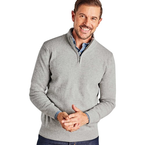 Clothing Men jumpers Woolovers Cashmere and Merino Zip Neck Jumper Grey
