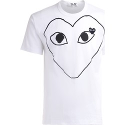Clothing Men Short-sleeved t-shirts Comme Des Garcons t-shirt in white cotton with large White