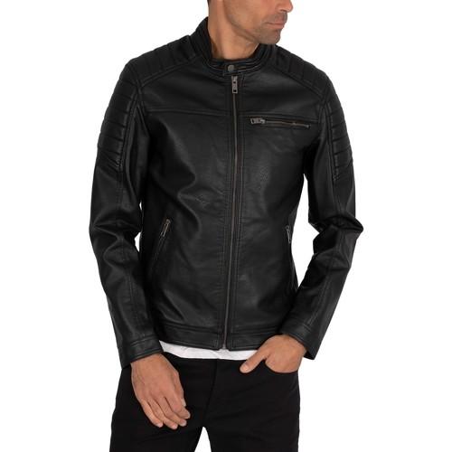 Clothing Men Leather jackets / Imitation leather Jack & Jones Rocky Leather Jacket black