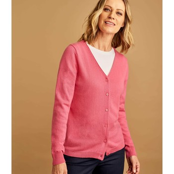 Clothing Women Jackets / Cardigans Woolovers Cashmere Merino Classic V Neck Cardigan Pink