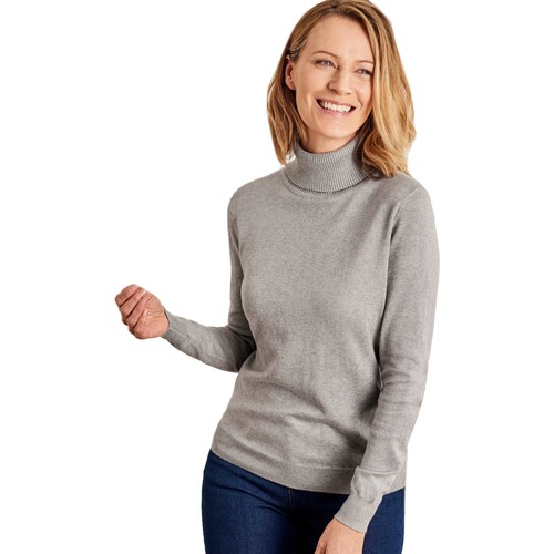 Clothing Women jumpers Woolovers Silk and Cotton Polo Neck Jumper Grey