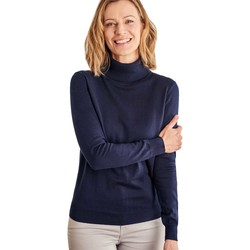 Clothing Women jumpers Woolovers Silk and Cotton Polo Neck Jumper Blue
