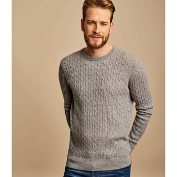 Clothing Men jumpers Woolovers Cashmere and Merino Cable Crew Neck Jumper Grey