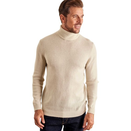 Clothing Men jumpers Woolovers Lambswool Polo neck Jumper BEIGE