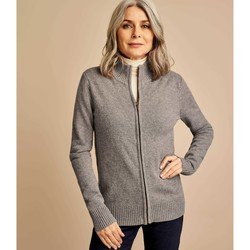Clothing Women Jackets / Cardigans Woolovers Lambswool Fitted Zip Thru Cardigan Grey