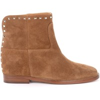 Shoes Women Ankle boots Via Roma 15 ankle boot in leather-colored suede with studs Brown