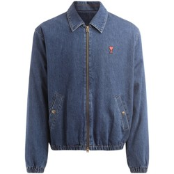 Clothing Men Jackets Ami Alexandre Matiussi Ami de Coeur bomber jacket in blue washed denim Blue