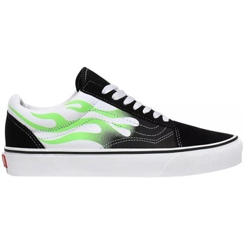 Shoes Low top trainers Vans Old Skool Flames Skate White,Black,Green