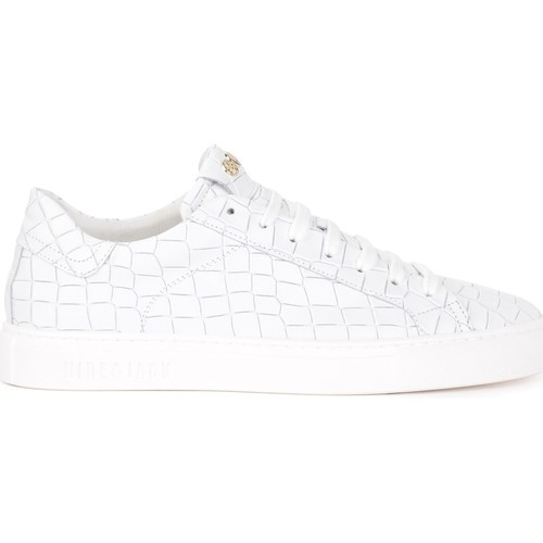 Shoes Men Low top trainers Hide&jack Sneaker Hide & Jack Tuscany Croco for men in white leather White