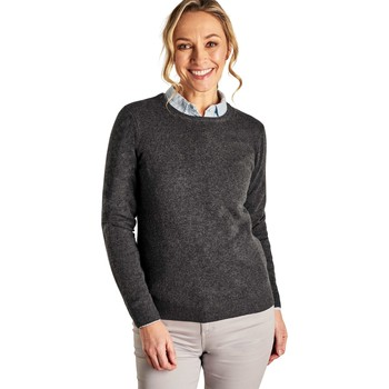 Clothing Women jumpers Woolovers Cashmere and Merino Crew Neck Knitted Jumper Grey