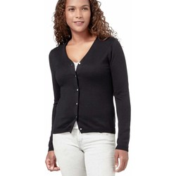 Clothing Women Jackets / Cardigans Woolovers Silk and Cotton Soft Feel V Neck Cardigan Black