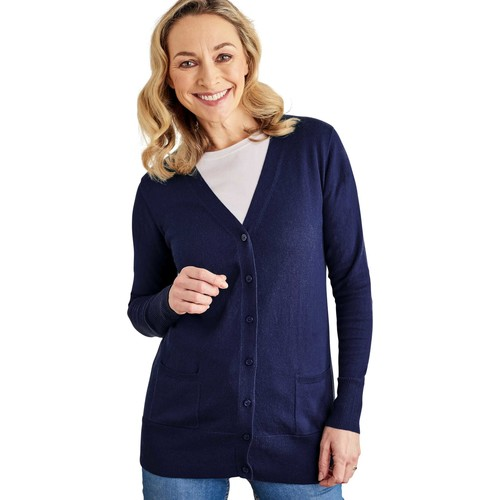 Clothing Women Jackets / Cardigans Woolovers Silk and Cotton Long Cardigan Blue