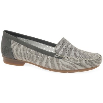 Shoes Women Loafers Rieker Peggy Womens Punched Detail Moccasins grey
