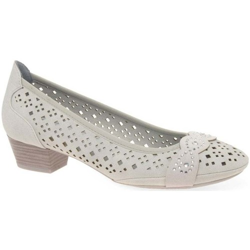 Shoes Women Heels Marco Tozzi Adoration Womens Punched Detail Court Shoes grey