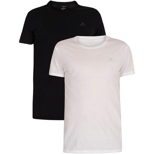 Clothing Men Short-sleeved t-shirts Gant 2 Pack Lounge Crew Neck T-Shirts black