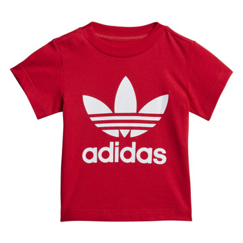 Clothing Children short-sleeved t-shirts adidas Originals TREFOIL TEE Red