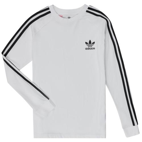 Clothing Children Long sleeved tee-shirts adidas Originals 3STRIPES LS White