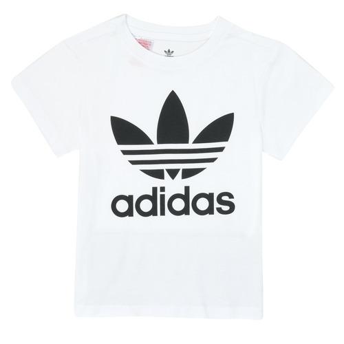 Clothing Children Short-sleeved t-shirts adidas Originals TREFOIL TEE White