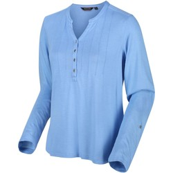 Clothing Women T-shirts & Polo shirts Regatta Fflur Long Sleeved Half Button Top Blue Blue