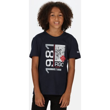Clothing Children Short-sleeved t-shirts Regatta BOSLEY III TShirt Petrol Blue Up Print Blue Blue