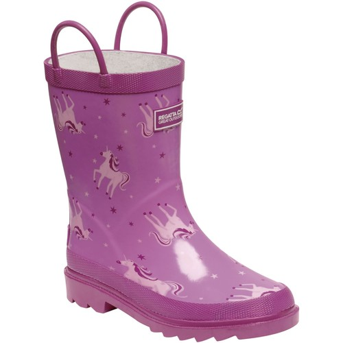 Shoes Children Wellington boots Regatta Kids Minnow Printed Wellington Boots Pink Pink