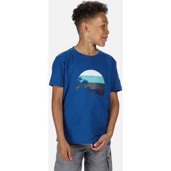 Clothing Children T-shirts & Polo shirts Regatta BOSLEY III TShirt Petrol Blue Up Print Blue Blue