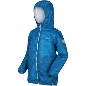 Clothing Boy Jackets Regatta PRINTED LEVER Waterproof Shell Jacket Blue