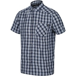Clothing Men long-sleeved shirts Regatta Mindano V Short Sleeved Checked Shirt Blue Blue