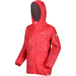 Clothing Children Coats Regatta PRINTED LEVER Waterproof Shell Jacket Fiery Coral Orange Orange