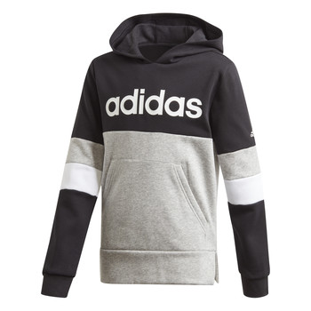 Clothing Boy Sweaters adidas Performance YB LIN CB HD FL Black / Grey
