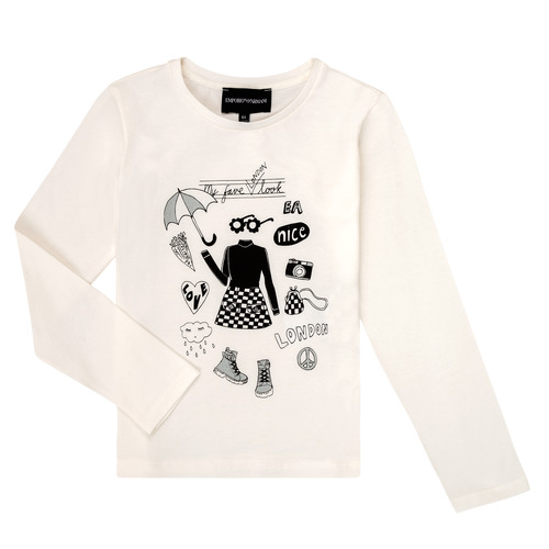 Clothing Girl Long sleeved tee-shirts Emporio Armani 6H3T01-3J2IZ-0101 White