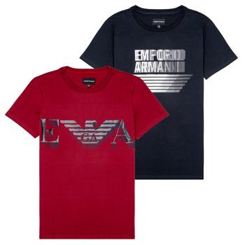 Clothing Boy Short-sleeved t-shirts Emporio Armani 6H4D22-4J09Z-0353 Black / Red