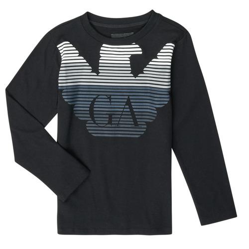 Clothing Boy Long sleeved tee-shirts Emporio Armani 6H4T17-1J00Z-0999 Black