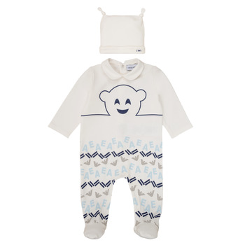 Clothing Boy Sleepsuits Emporio Armani 6HHV08-4J3IZ-0101 White / Blue