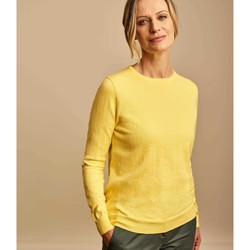 Clothing Women Jumpers Woolovers Cashmere and Cotton Crew Neck Jumper Yellow