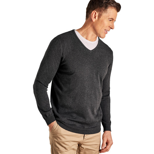 Clothing Jumpers Woolovers Combed Cotton V Neck Jumper Grey