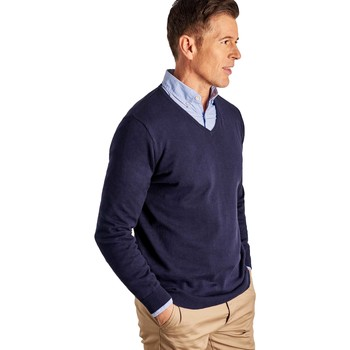 Clothing Jumpers Woolovers Combed Cotton V Neck Jumper Blue