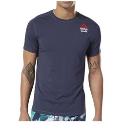 Clothing Men short-sleeved t-shirts Reebok Sport Crossfit Games Activchill Navy blue