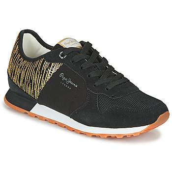 Shoes Women Low top trainers Pepe jeans VERONA W CASCADE Black / Gold